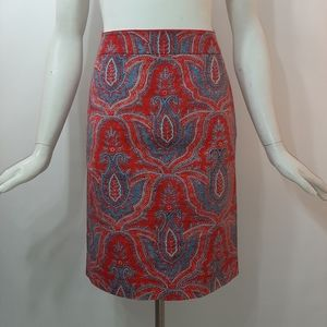 3/$18 J. Crew Skirt W28 Teal Red Pencil Lined